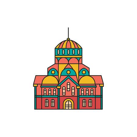 교회 아이콘입니다. 흰색 배경에 고립 된 웹 디자인을위한 만화 복고풍 교회 아이콘 일러스트 벡터 일러스트 레이 션