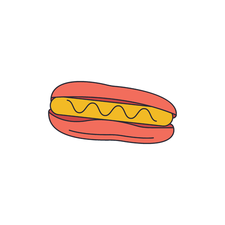 Hot dog icon. Cartoon Hot dog vector icon for web design isolated on white background Standard-Bild - 110020712