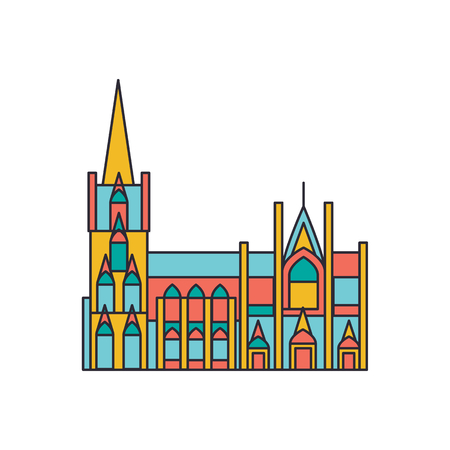 Cathedral architecture icon. Cartoon Cathedral architecture vector icon for web design isolated on white background Vectores