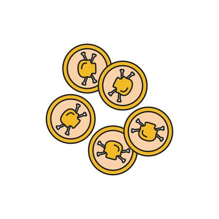 Icono de monedas piratas. Monedas piratas de dibujos animados icono vectoriales para diseño web aislado sobre fondo blanco. Ilustración de vector