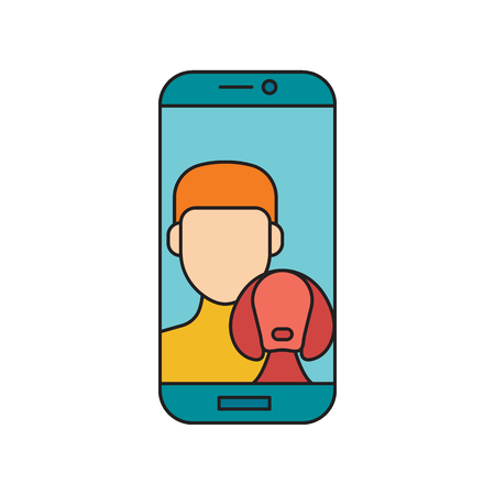 Man and dog in phone. Cartoon Man and dog in phone make selfie vector illustration for web design isolated on white background
