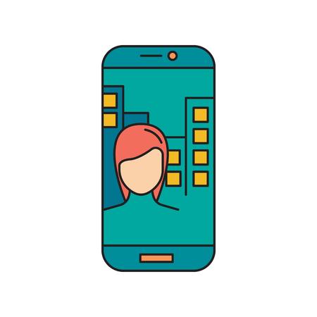 Girl in phone. Cartoon Girl in phone make selfie vector illustration for web design isolated on white background