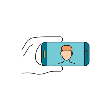Hand with phone. Cartoon vector illustration Hand with phone make selfie for web design isolated on white background Ilustrace