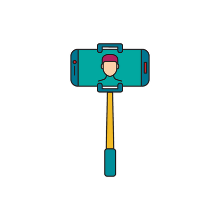 Selfie stick. Cartoon Selfie stick with phone vector illustration for web design isolated on white background