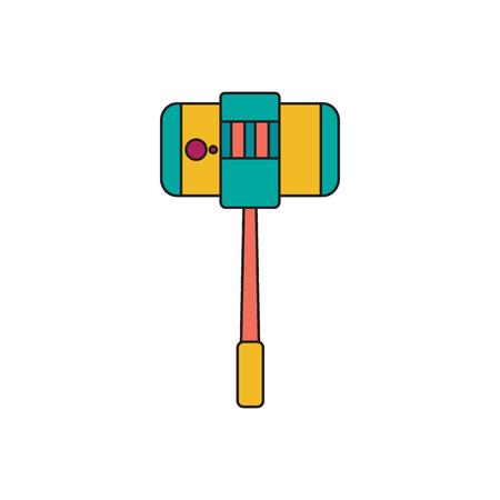 Selfie stick. Cartoon Selfie stick vector illustration for web design isolated on white background