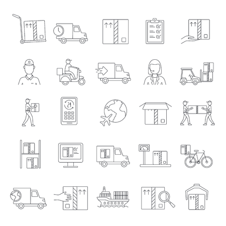 Delivery icons set. Outline Delivery vector icons set for web design isolated on white background Vektorové ilustrace