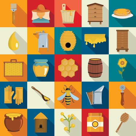 Apiary icons set. s set. Apiary vector icons set in flat style with bee, honey for web and advertising with long shadow