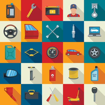 Conjunto de iconos de servicio automático. s establecido. Iconos vectoriales de servicio automático en estilo plano con coche, maestro automático, aceite, instrumentos para web y publicidad con sombra larga