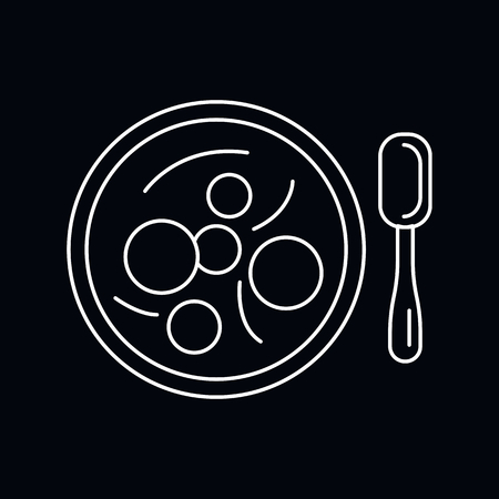 Bakso icon. Outline illustration of Bakso vector icon for web and advertising isolated on black background. Element of culture and traditions Ilustração