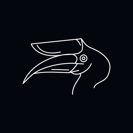 Hornbill icon. Outline illustration of Hornbill vector icon for web and advertising isolated on black background. Element of culture and traditions