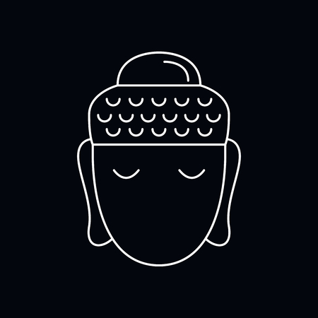 Buddha head icon. Outline illustration of Buddha head vector icon for web and advertising isolated on black background. Element of culture and traditions Illustration