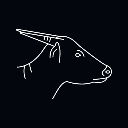 Anoa icon. Outline illustration of Anoa vector icon for web and advertising isolated on black background. Element of culture and traditions Stock Vector - 109900017