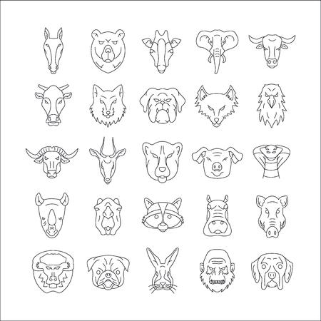 Animals line head set. Outline animals head set with dog, bear, elephand, monkey isolated on white background Illustration