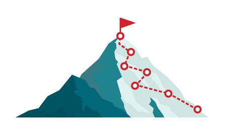 Itinerario di arrampicata in montagna per raggiungere il picco in stile piatto. Percorso di viaggio d'affari in corso per illustrazione vettoriale di successo. Picco di montagna, percorso di arrampicata fino alla cima della roccia illustrazione Vettoriali