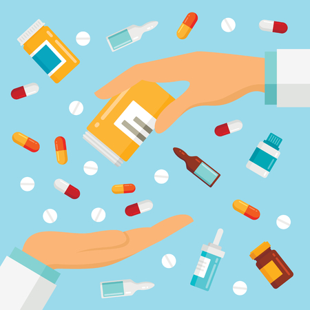Vector flat illustration with hands of the doctor and some medical elements. Pharmaceutical pills and drugs. Medical drugs in hand, pharmacy pills, antibiotic and medication