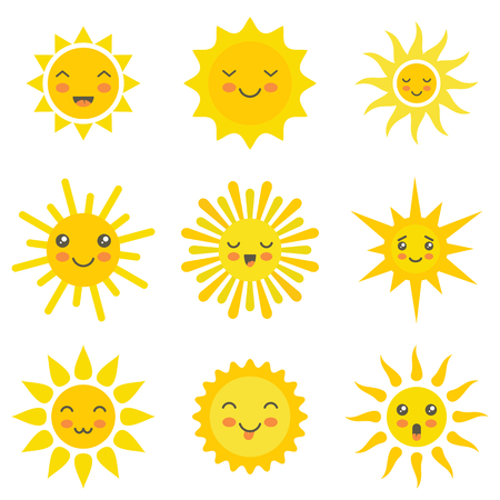 Sun flat emoji. Funny summer sunshine, sun baby happy morning yellow kawaii emoticons. Cartoon sunny kawaii smiling faces vector icons Ilustração