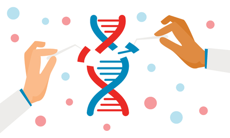 Dna engineering vector illustration. Human biochemistry and chromosomes research vector biology concept. Flat genome crispr cas9, gene mutation code modification. Ilustração