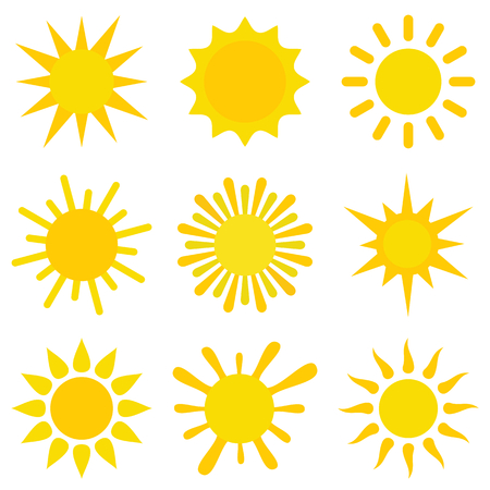 Vector set with yellow suns. Flat sun collection. Elements for web and design