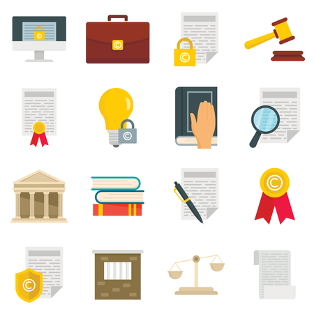 Copyright legal regulations vector icons set. Business flat icons of law and protection copyright . Vector set in flat style. Protection and regulation copyright business isolated illustration