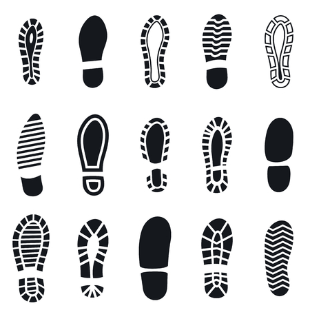 Shoes footprint silhouette black simple set. Sneaker shoes step, walking boot shoe steps imprint and man feet boots isolated on white. Footprints simple step isolated vector illustration icons set 向量圖像