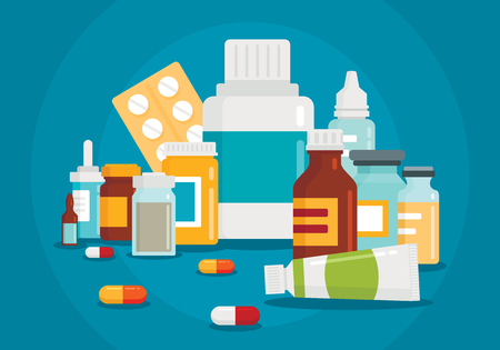 Pharmaceutical illustration of medical bottles and pills on blue background. Medical cure and flat medicament and vitamin with shadow Ilustração