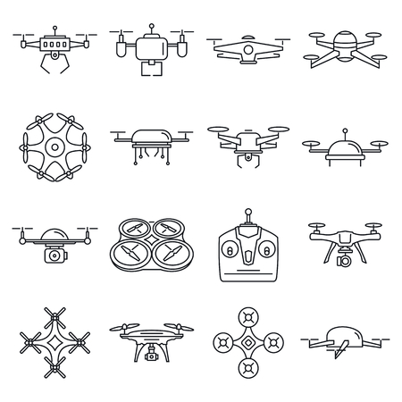 Different outline drones set. Aerial delivery and photo robots vector linear set. Aircraft robot, control propeller wireless vector illustration