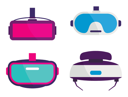 Virtual reality glasses and helmets vector icons set. Flat VR glasses collection.