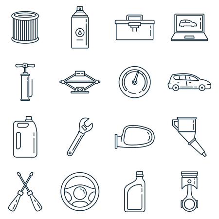 Auto service outline vector icons set. Linear collection with car, pump and fuel isolated on white background