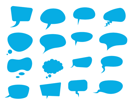 Blue speech flat bubbles. Thinking balloon talks bubbling chat comment cloud comic retro vintage shouting voice shapes vector isolated on white set Ilustração