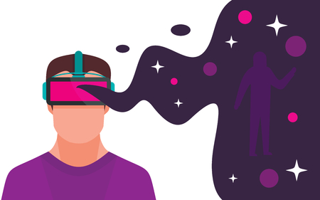 Man with headset playing in virtual reality space. Digital virtual reality entertainment flat concept. Innovation game device, illustration of virtual reality cyberspace with man Ilustração