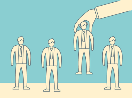 Choice employer in vintage outline style. Big hand choosing man from selected people group. Human recruitment hunting illustration, selecting choicing candidate for job vector concept