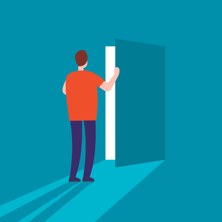 Man opens the door flat vector illustration. Secret door opportunity, accessible entering concept. Risk solution and leadership vector picture