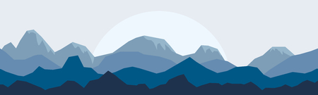 Silhouette mountain panorama skyline with rocks, nature wildlife landscape backgrounds. Wildlife mountain silhouette, skyline panorama vector illustration