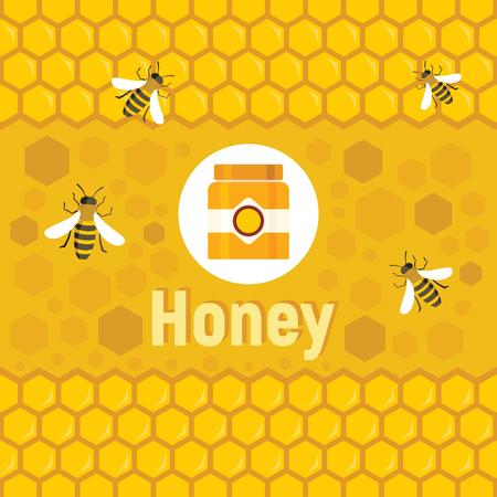 Flaches Honiglogo und Hintergrund mit Vektorbiene, Honiggläsern und Waben im Bienenhaushintergrund. Vektorkonzept Bienenhaus