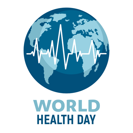 World health day illustration. Wellness, medical prevention, healthcare and medicare day. Global medicine vector flat background
