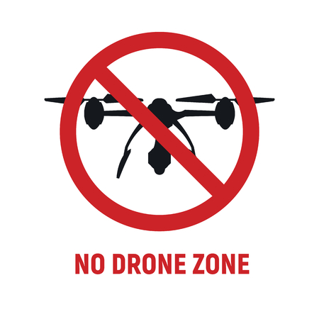 No drone zone sign. No drones icon vector. Flights with drone prohibited. No drone zone sign isolated on white background Ilustração