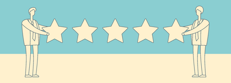 Two businessmen giving five star rank. Best work quality and customer service feedback vector concept in retro colours style