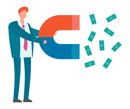 Lead generation. Magnet in hand attracts money. Sales and leads, marketing vector illustration. Magnet attract money, marketing development vector concept Ilustração