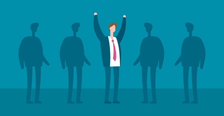 Happy excited business man and shadows flat vector concept. Successful team work and leadership vector illustration Ilustração