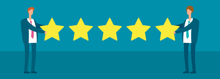 Two businessmen giving five gold star rank. Best work quality and customer service feedback vector concept in flat style