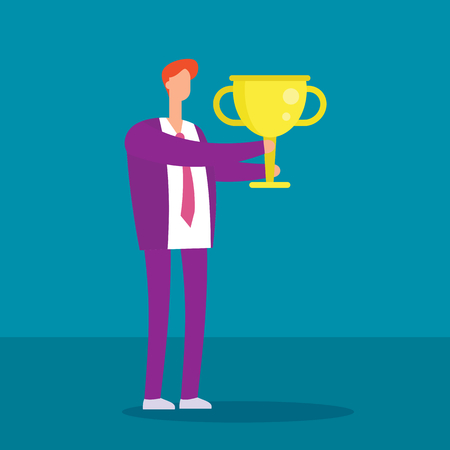 Manager with winning trophy cup. Success business man vector flat concept. Businessman success with cup trophy, victory leader cartoon illustration