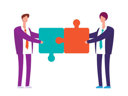 Two businessman with puzzles vector flat concept.. Business cooperation for success in team job illustration Ilustração
