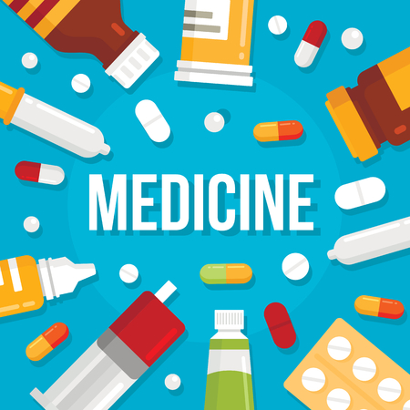 Vector pharmacy or medicines background flat illustration. Concept medicine illustration with design Ilustração
