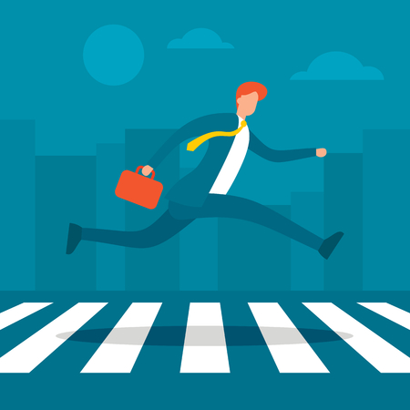 Businessman walking crosswalk in bisuness town. Man in suit running to office crossing street illustration. Business vector concept Ilustração