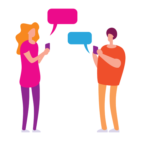 Social media community vector concept. Man and woman, couple using mobile application for talking and love relationship