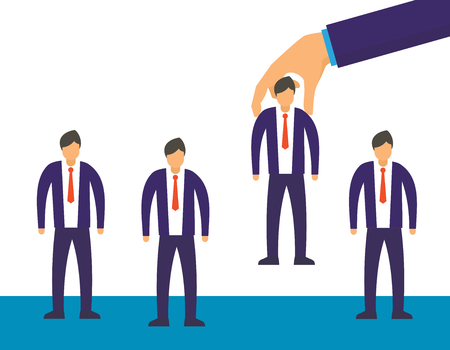 Hand choosing man vector concept. Choice employer from selected job people group. Human recruitment hunting, selecting choicing candidate for job vector illustration