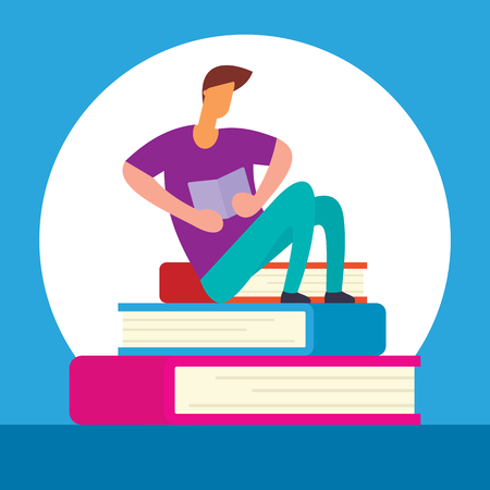 Reading man sits on pile of books. Self education vector concept. Young man sitting on the books vector illustration