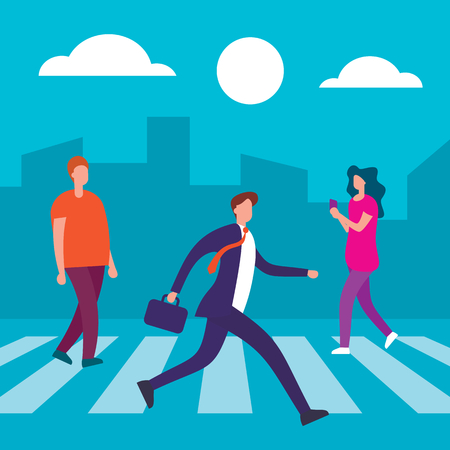 People cross the road at crosswalk. People on crosswalk. Businessmen walking city street. Business flat concept. Business man on crosswalk city vector illustration