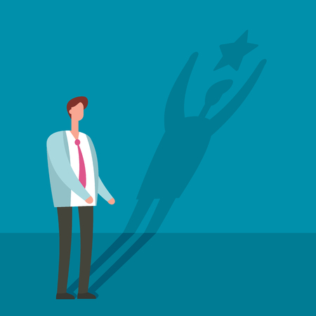 Businessman with winner shadow star vector illustration. Leadership, achievement and business challenge success job concept