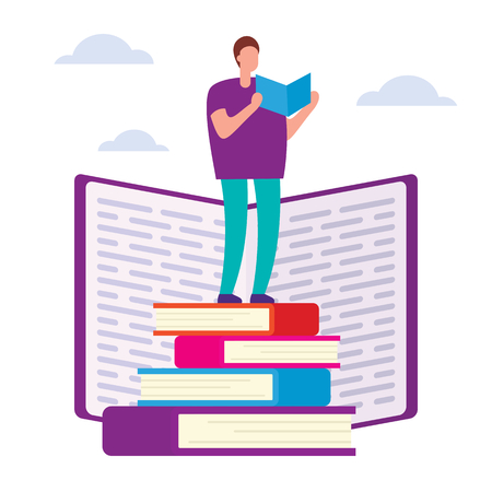 Education courses flat vector concept. Search for answers to questions in books. Self education vector concept. Education through books and self-study. Help and support in education Ilustração